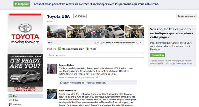 Page Facebook Toyota