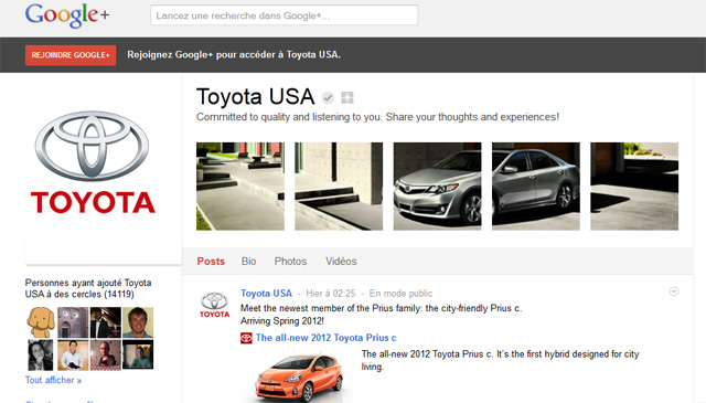 Page Google Toyota