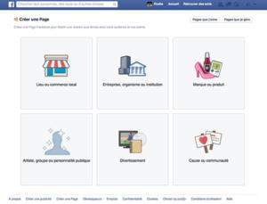 créer une page facebook